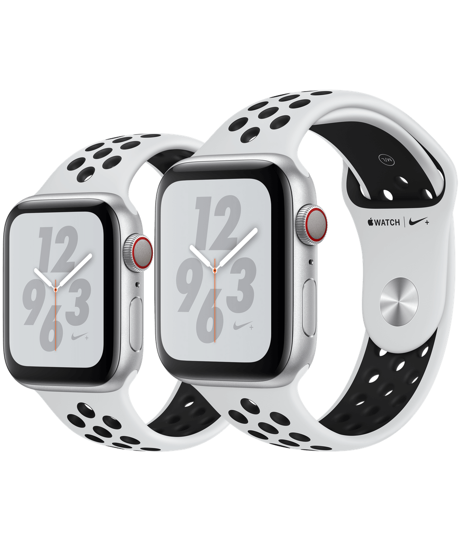 3ef148a89a385 Apple Watch Nike+ Silver Aluminum Case with Pure Platinum Black Nike Sport  Band Series 4 GPS