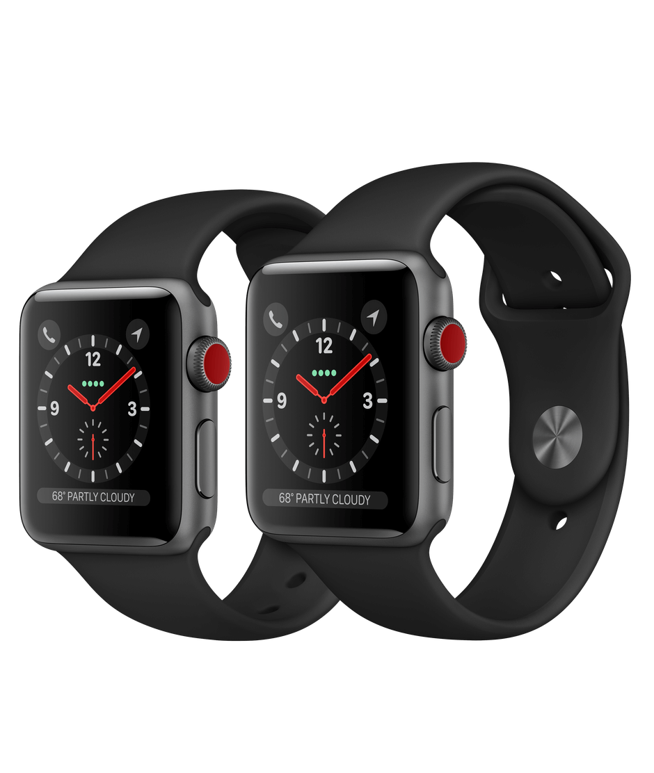 new style f22e7 7cfb5 Apple Watch Space Gray Aluminum Case with Black Sport Band
