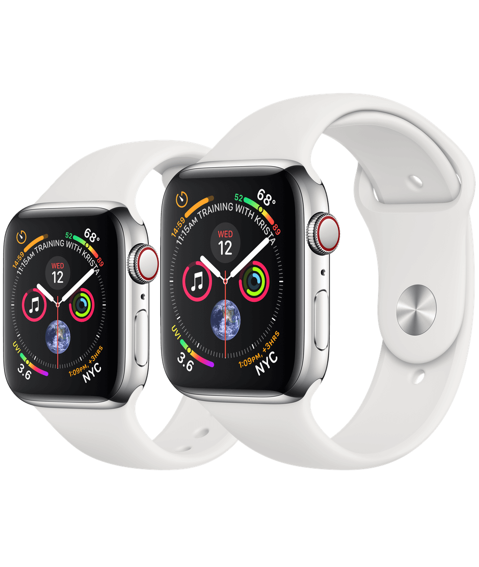 get cheap ad825 9d229 Apple Watch Stainless Steel Case with White Sport Band